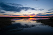 Landscape with the image of lake Seliger in Russia at sunset