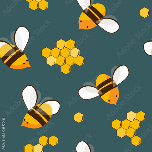 Cotton fabric Cute seamless pattern with flying bees and honey bees. Vector illustration