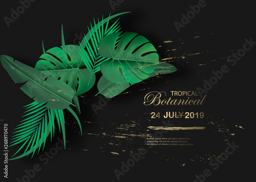 Vector Horizontal Banner With Green Tropical Leaves On Black Background Luxury Exotic Botanical Design For Cosmetics Spa Perfume Aroma Beauty Salon Best As Wedding Invitation Card Buy This Stock Vector And