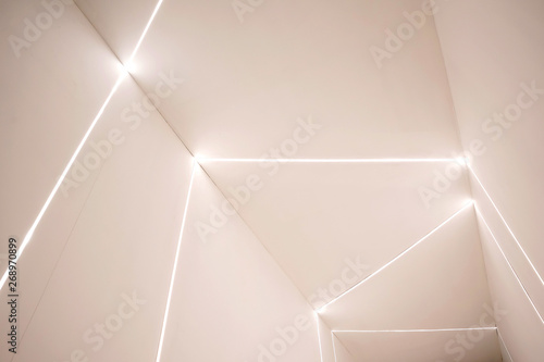 Obraz Empty concrete room wall and glowing LED. - fototapety do salonu