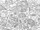 Fototapeta Dinusie - Ink seamless pattern with mom and baby dinosaurs and tropical plants. Vector illustration