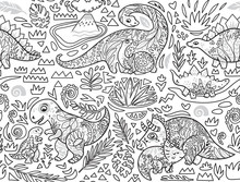 Ink Seamless Pattern With Mom And Baby Dinosaurs And Tropical Plants. Vector Illustration