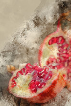 Watercolour Painting Of Fresh Open Pomegranate With Seeds Out On Slate Base And Wooden Background