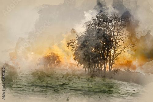 Printed kitchen splashbacks Beige Watercolour painting of Stunning vibrant Autumn foggy sunrise English countryside landscape image