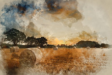Watercolour Painting Of Rural ...