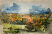 Watercolour Painting Of Beautiful Autumn Fall Sunrise Foggy Landscape Image Over Countryside In Lake District In England