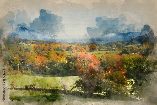Foto auf AluDibond Pistazie Watercolour painting of Beautiful Autumn Fall sunrise foggy landscape image over countryside in Lake District in England