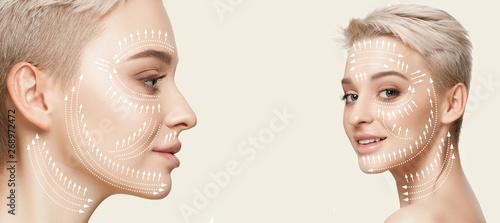 Fotografie, Obraz  Beautiful female face isolated on white background