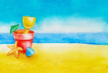 Children's Beach Toys Bucket, Spade, Umbrella, Shell And Starfish In The Sand Against Sky, Ocean Or Sea In Background As Concept For Summer Holiday And Vacations With Copy Space For Text Summer Sale