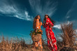 canvas print picture - two beautiful stylish boho models outdoors