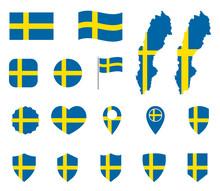 Sweden Flag Icons Set, National Flag Of Kingdom Of Sweden