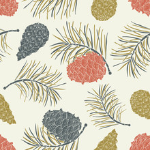 Cone Seamless Pattern. Vector Illustration.