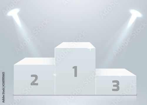 Photo  Stage podium with lighting, Stage Podium Scene with for Award Ceremony on white