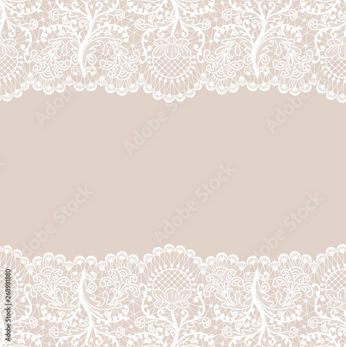 Horizontally seamless beige lace background with white lace borders Canvas-taulu