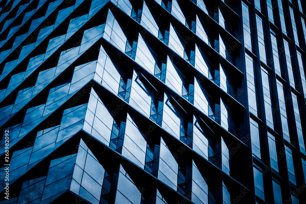 Fototapety, obrazy: abstract architecture, blue toned image.