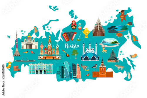 Fotografie, Tablou Russia vector map illustration