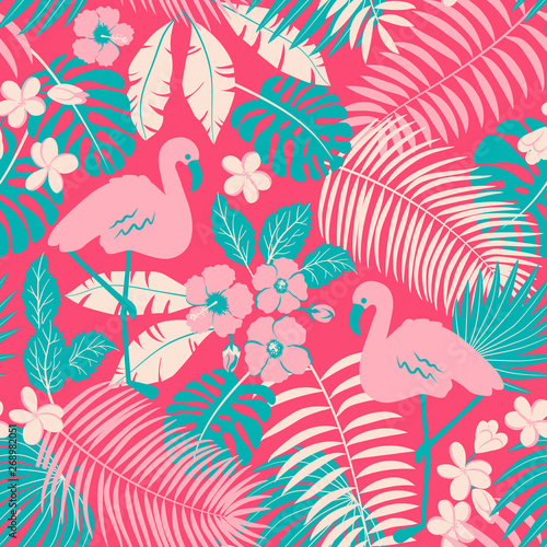 Tropic seamless pattern with flamingo, palms and flowers