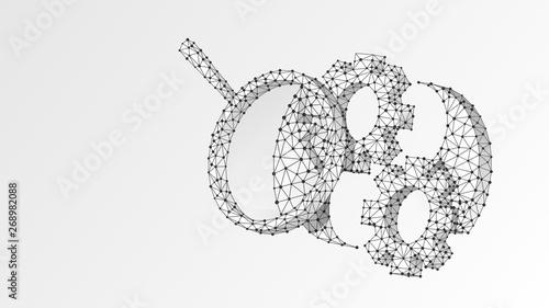 Magnifying glass on Gears Yin Yan symbol  Technology