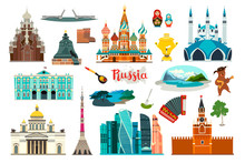 Russia Icons Set, Flat Cartoon Style Icon. Russian Symbol. Church And Museum. Matryoshka And Bear Balalaikas. Nature Lake And Mountains. The Kremlin And The Drawbridge