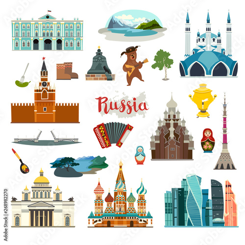 Obraz Russia City colorful vector collection. Russia  building and landmarks - fototapety do salonu