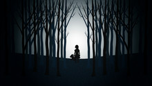 Girl With Her Teddy Bear Walking Lost Through A Creepy Forest. Minimalist Vector Landscape
