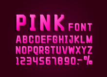 Retro Font Pink Vintage, Light Sign Set. Vector