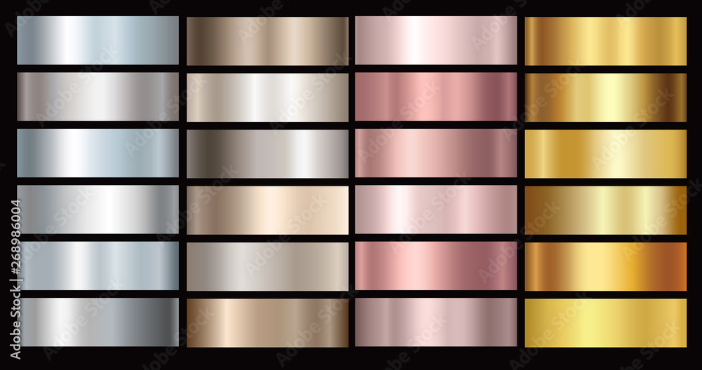 Fototapeta Gold rose, silver, bronze and golden foil texture gradation background set. Vector shiny and metalic gradient collection for border, frame, ribbon, label design.