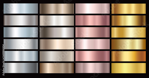 Fototapeta Gold rose, silver, bronze and golden foil texture gradation background set. Vector shiny and metalic gradient collection for border, frame, ribbon, label design. obraz
