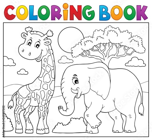 Stickers pour porte Enfants Coloring book African nature topic 8