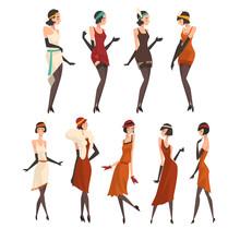 Elegant Women In Retro Dresses, Black Stockings And Gloves Set, Beautiful Flapper Girls Of 1920s, Art Deco Style Vector Illustration