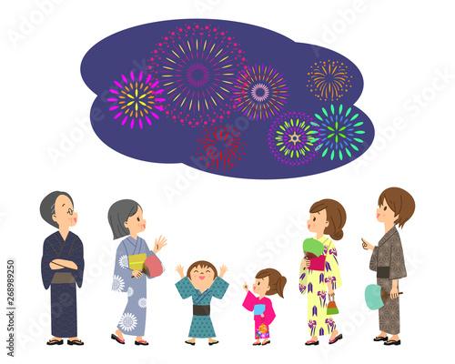 3世代親子 打ち上げ花火 夏祭り 03