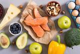 Keto diet . Healthy background . - 268991406