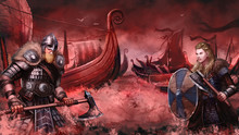 Viking War. Warrior Character Design. Realistic Scene Illustration. Video Game Digital CG Artwork.