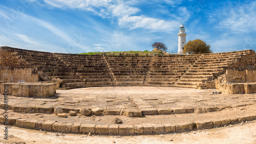 Ancient Odeon amphitheatre in Paphos Archaeological Park (Kato Pafos), harbour of Paphos, Cyprus, panoramic view Wallpaper Mural