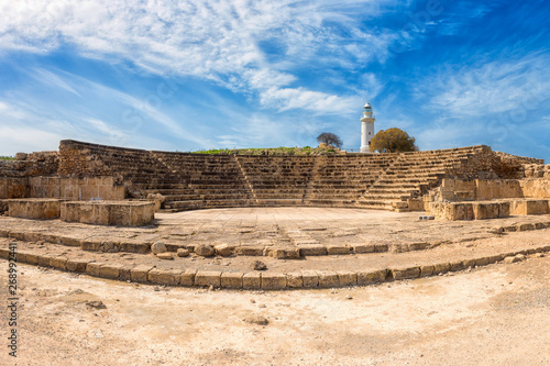 Ancient Odeon amphitheatre in Paphos Archaeological Park (Kato Pafos), harbour of Paphos, Cyprus, panoramic view Fotobehang
