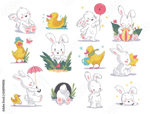 Vector hand drawn illustration set with cute white bunny and yellow little duck isolated on white background. Good for baby shower invitations, birthday cards, stickers, prints, advent calendar etc. © artflare
