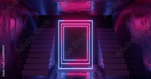 3d rendering, abstract neon background, pink blue glowing light, staircase in da Fototapeta