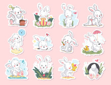 Vector Set Of Beautiful Children Stickers With Cute Little White Bunny Character Sitting, Smiling, Walking Isolated. Hand Drawn Sketch Style. For Baby Shower Card, Happy Birthday Invitation, Tee Print