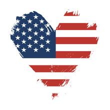 Brushstroke Painted Flag Of USA