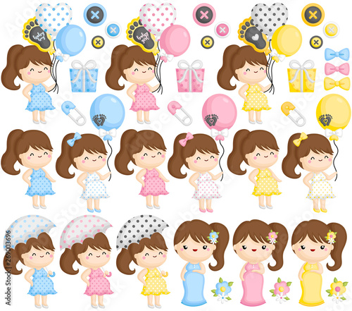 A Vector Set of Pregnant Moms in Various Colors and Actions