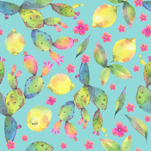 Hand Painted Watercolor Illustration. Colorful Seamless Pattern With Lemons And Cactuses.
