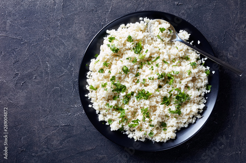 Cauliflower rice or couscous in a bowl Fototapeta