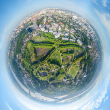 Globe Panorama. Stereographic Projection Of  Green Park And Ciy View. 360 Degree Panorama. Little Planet