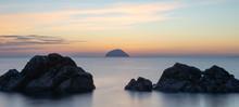 Ailsa Craig,background,beach,beautiful,beauty,blue,cloud,clouds,coast,evening,firth Of Clyde,holiday,irish Sea,island,landscape,nature,ocean,outdoor,panorama,panoramic,rock,scenic,scotland,sea,seascap