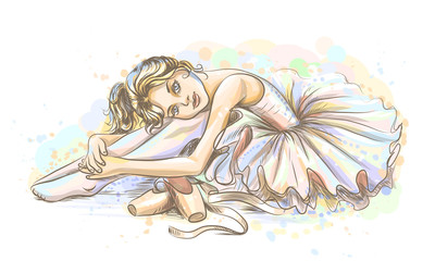 Panel Szklany Taniec / Balet Ballet. Hand-drawn sketch of a cute little dreamy girl ballerina in a tutu with pointe shoes on a white background with watercolor splashes.