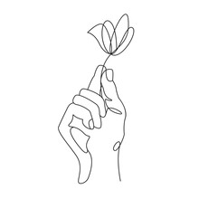 Continuous Line Drawing. Hand Holding Flower. Vector Illustration