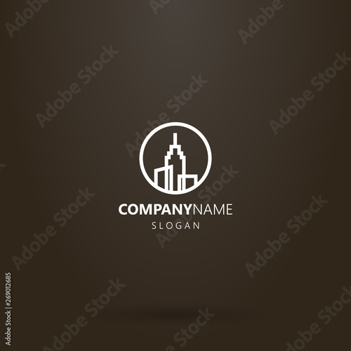 white logo on a black background Fotobehang