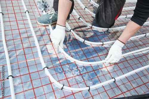 Fototapeta underfloor heating installation. Floor Heating system
