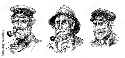 Photo Captain of ship, sailor, hand drawn set.