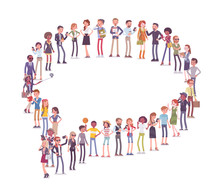 Group Of People Making Speech Bubble Shape. Members Of Different Nations, Sex, Age, Jobs Standing Together Forming Chat Symbol. Vector Flat Style Cartoon Illustration Isolated On White Background